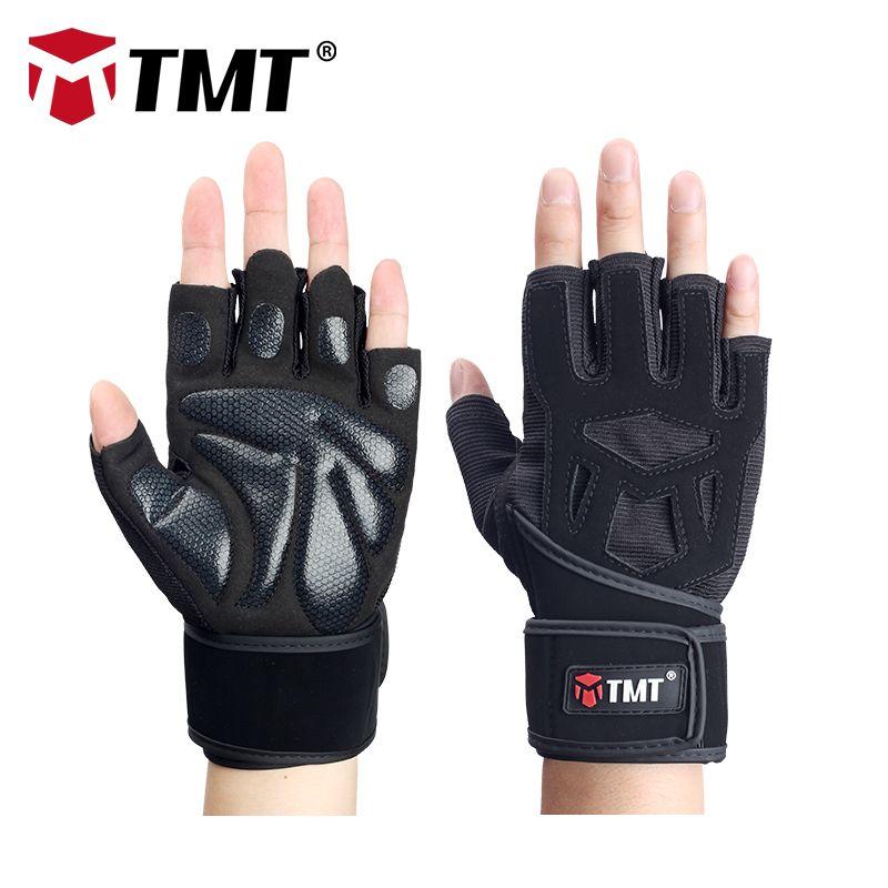 TMT Sports Antislip Gloves Half Finger Breathable Lengthened wrist belt Fitness Dumbbell Men Women Weight lifting Gym Gloves