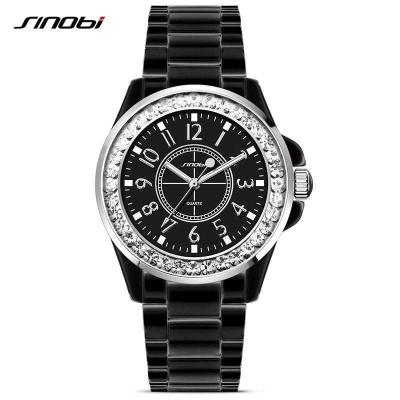 SINOBI Fashion Ladies Ceramic Steel Watch with Crytal for Womens Quartz Wrist Watches Luxury J12 Black Clock <font><b>Relojes</b></font> Mujer 2017