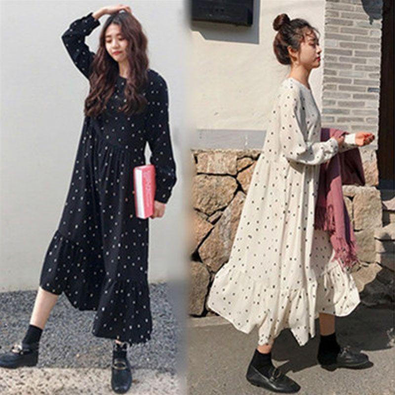 Grande taille 2019 printemps été Style européen marque Cothing lâche manches longues femmes robes imprimer point linge robes o-cou Robe