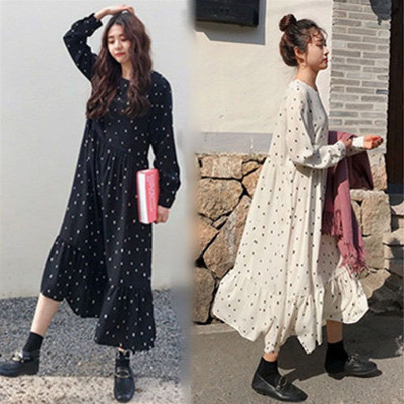 Plus Size 2019 Spring Summer European Style Brand Cothing Loose Long Sleeve Women Dresses Print Dot Linen Vestidos O-Neck Robe