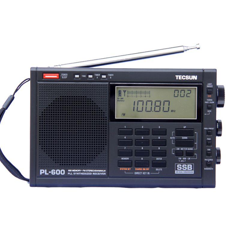 TECSUN PL-600 récepteur Radio stéréo synthétisé en bande complète FM/MW/SW-SSB/PLL (4xAA) PL600rqdio