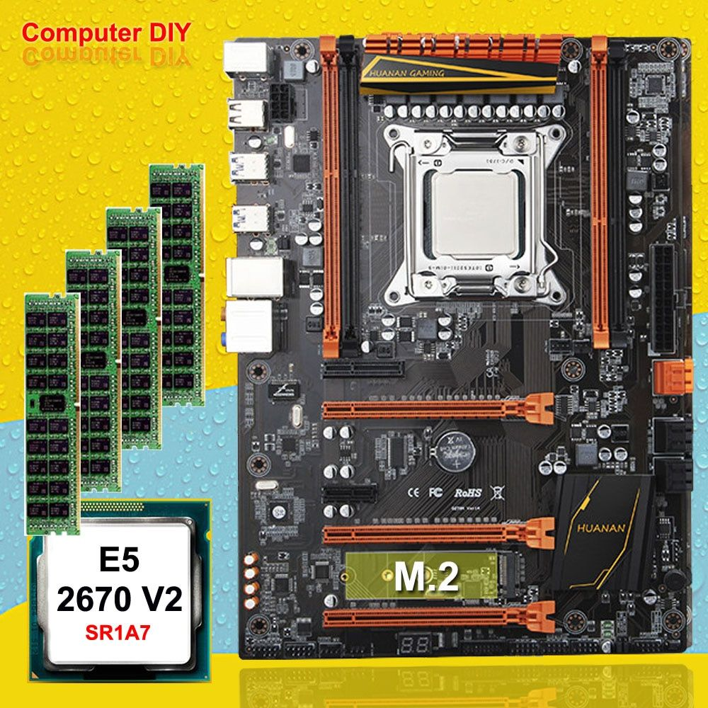 PC hardware liefern HUANAN ZHI deluxe X79 gaming motherboard set CPU Intel Xeon E5 2670 V2 SR1A7 2,5 GHz RAM 16G (4*4G) DDR3 RECC
