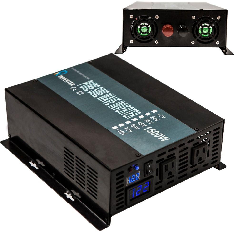 Off Grid Car Power Inverter 24V to 220V 1500W Pure Sine Wave Solar Inverter Transformers 12V/24/48V DC to 110V/120V/230V/240V AC