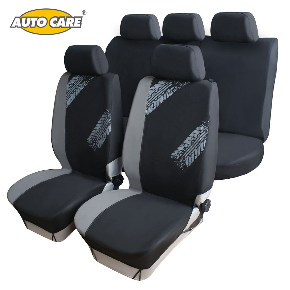 Car Seat Covers Universal Fit Grey Black Color Tire Print Style Seat Cover Protector Breathable Car Interior Decoration