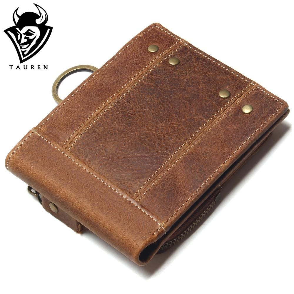 2018 Vintage <font><b>Genuine</b></font> Leather Men Wallets Removable Card ID Holders With Key Chain Short Bifold Male Organizer Walets Coin Bag