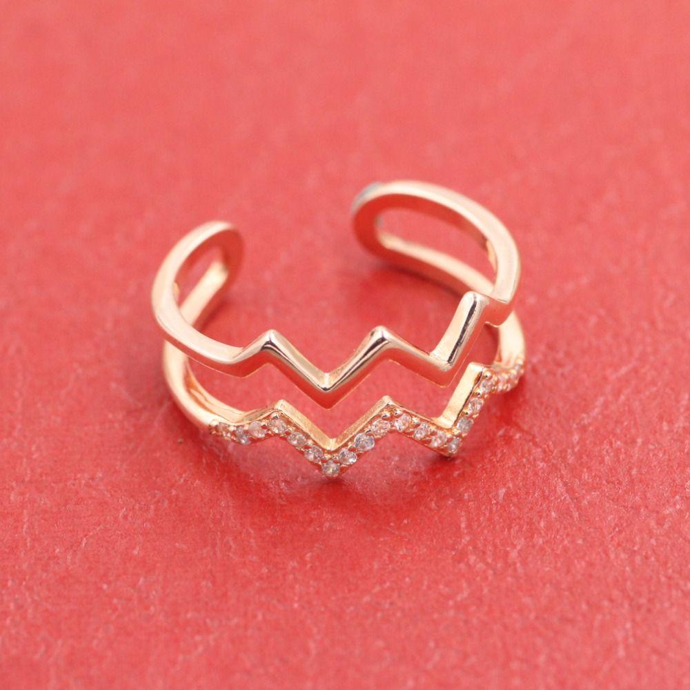 Kostenloser versand schmuck ring Klassische set auger 18 karat ring han-ausgabe elektrokardiogramm gesetzte schneckenwelle frauen mode ringe