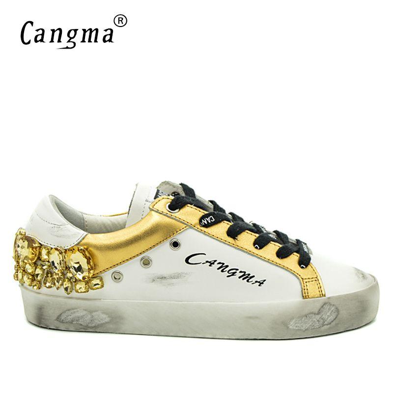 CANGMA оригинальный бренд золото Стразы мужские кроссовки 9908 Обувь White Diamond натуральная кожа бас дышащая Повседневное Мужская обувь кристалл