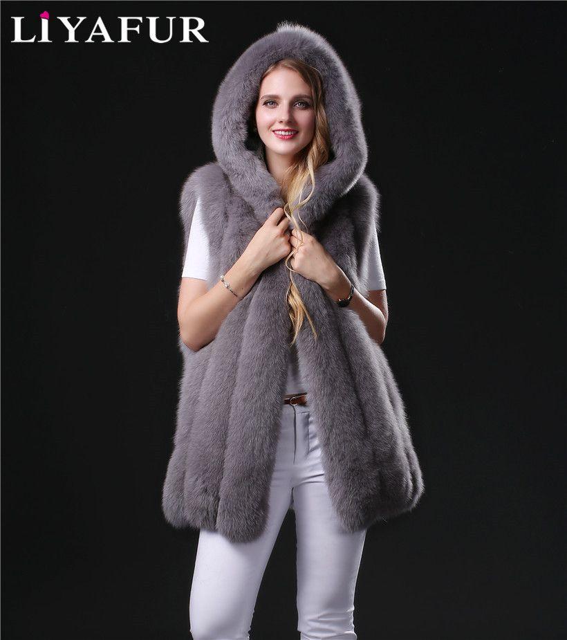 LIYAFUR Real Genuine Thick Full Pelt Fox Fur Long Winter Vest Waistcoat Gilet with Hood for Women Plus Size Luxury