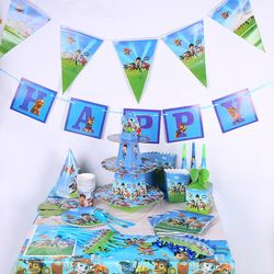 Perro figuras Feliz cumpleaños partido suministros para niños patrulla decoración mantel 108*180 cm decoración anniversaire 8