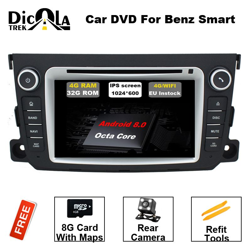 Android 8.0 Two Din 7 Inch Car DVD Player Stereo System For Mercedes/Benz/Smart/Fortwo Octa Cores 4G RAM WIFI Radio FM/AM GPS