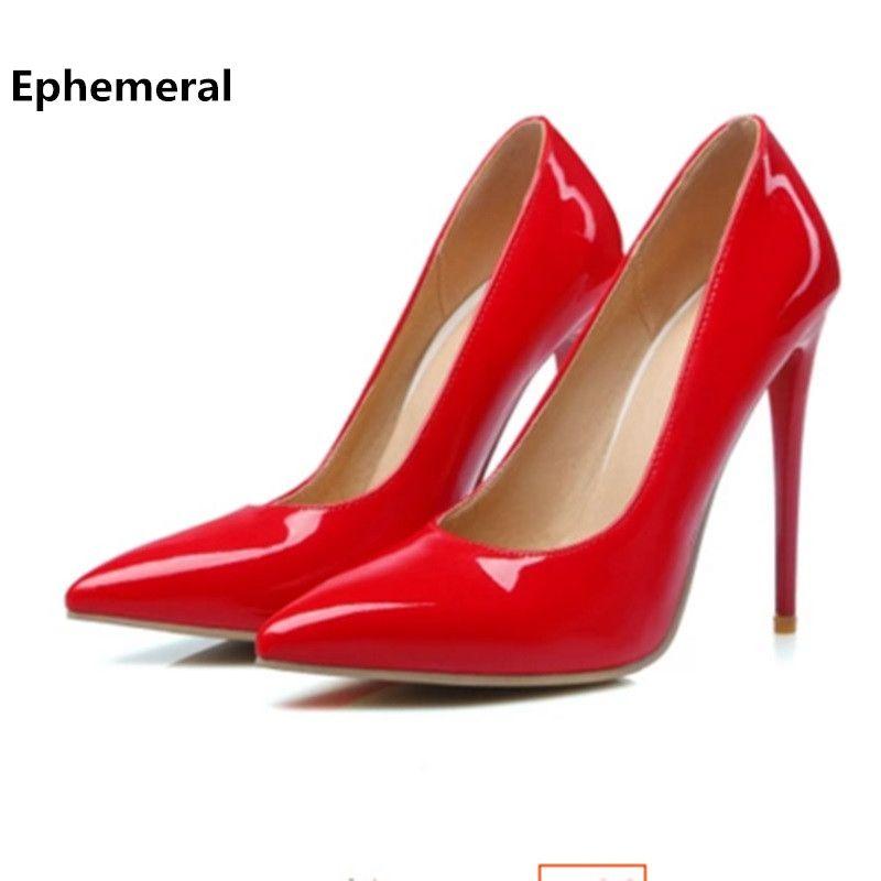 Super haute talons chaussures noir et blanc femmes pompes sexy point toe glisser sur le rouge de mariage chaussures max tailles 12 13 16 américain style