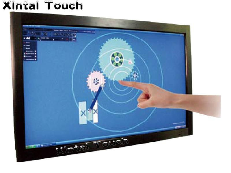 Xintai Touch 3PCS 43 inch infrared multi touch screen overlay kit , USB IR touch frame without glass for 4 touch points