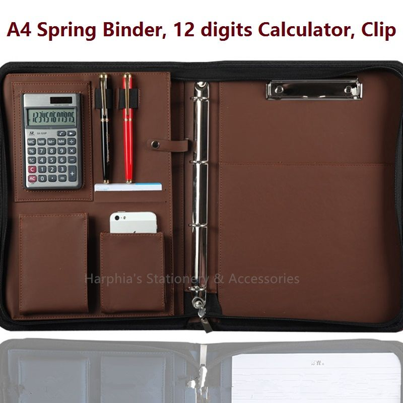 A4 Zip Brief Case File Folder Portfilio with Calculator Spring Binder Manager Bag FPDB-420