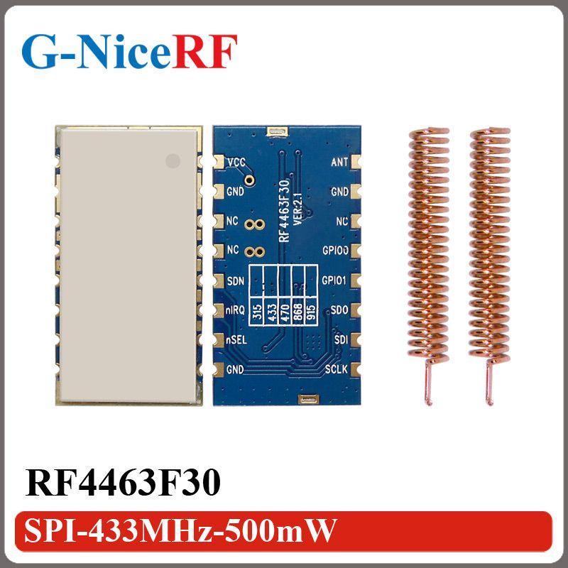 2PCS RF4463F30 1W 30dBm 3KM Long distance FSK Wireless SI4463 433MHz Transceiver Module