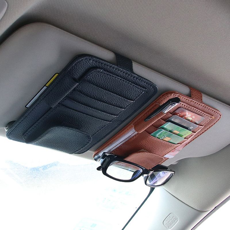 Car Sunglasses Holders Clip Ticket Card Organizer PU Leather Storage Bag For Car Sun Visor Mount Case In Car Accessory For Auto