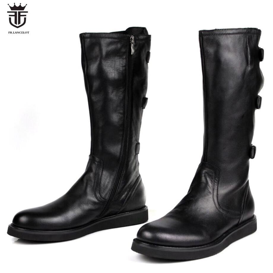 FR.LANCELOT 2018 mens Boots real leather boot zip up Men Short Boots thick heel ankle buckle booties flat heel men's booties
