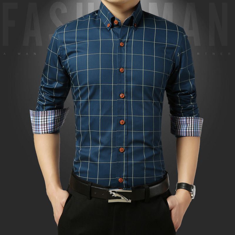 men's shirt fashion tailor-made double door design long-sleeved men's shirt casual travel shirt H07