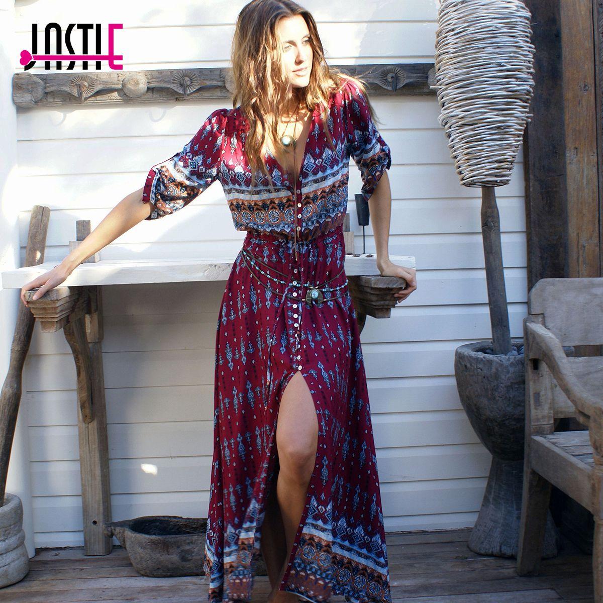 Jastie 3/4 Sleeve A-line Vintage V-Neck Boho Maxi Dress Floral Print Chic Summer Dress 2017 New Plus Size Fashion Women Vestidos