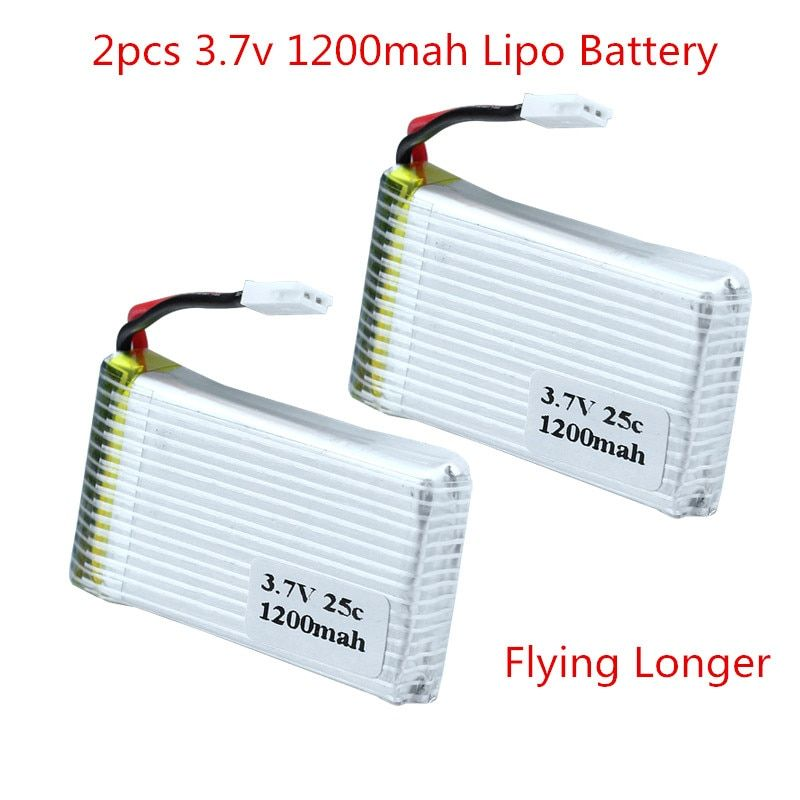 2pcs 3.7v 1200mah 25C Lithium Polymer Lipo Battery For M18 / H5P Syma X5S X5SW X5SC RC Quadcopter Model Drone Bateria