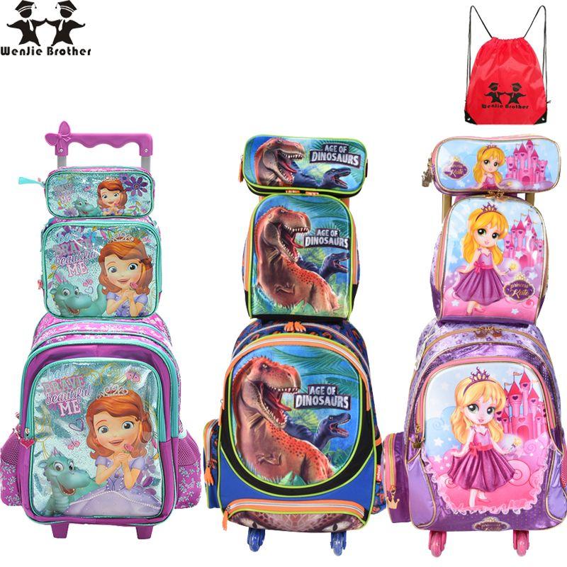 wenjie brother Children Mochilas Kids <font><b>school</b></font> bags With Wheel Trolley Luggage For boys Girls backpack Mochila Infantil Bolsas