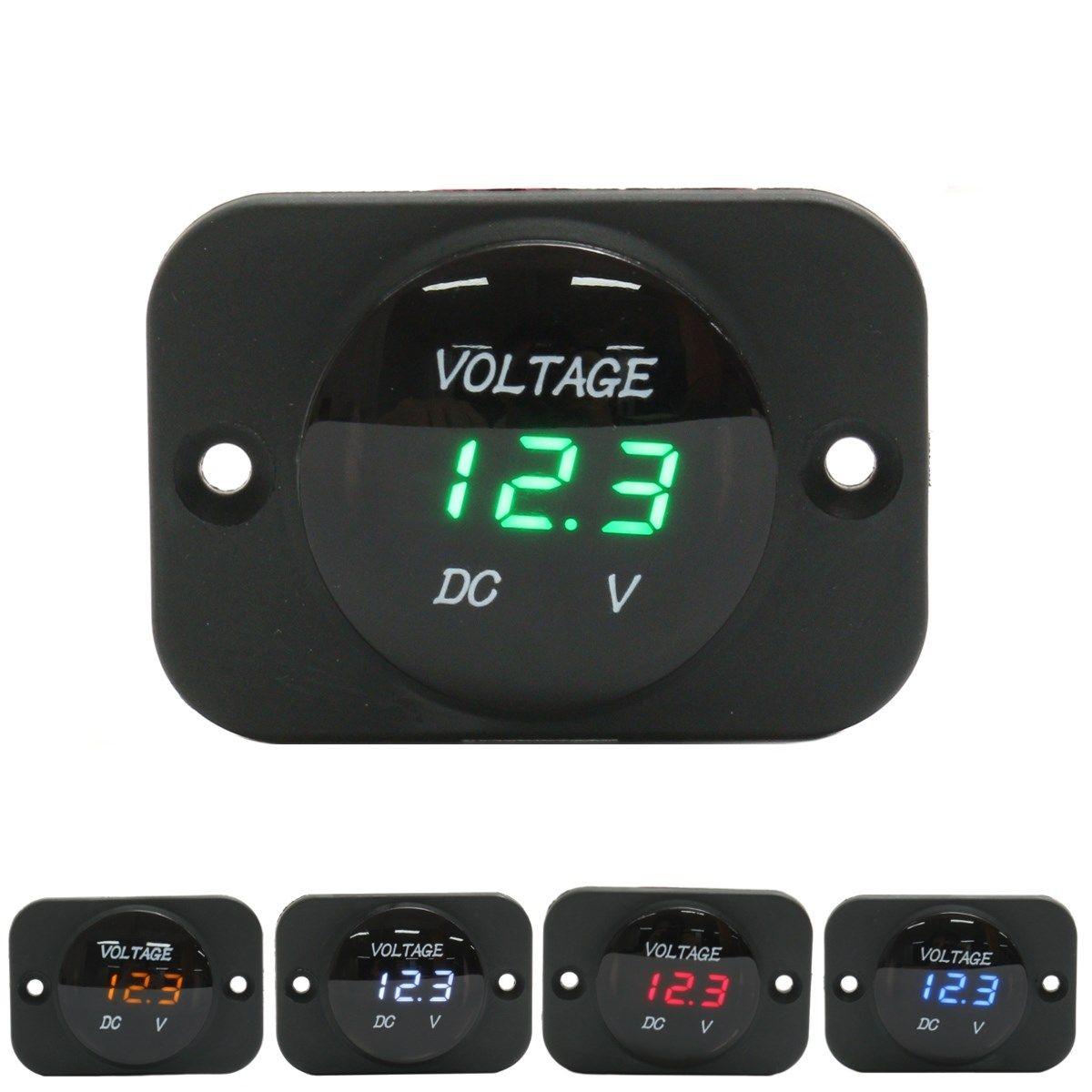 DC 12-24V Waterproof Car Boat Motorcycle LED Voltmeter Digital Display Volt Voltage Meter Gauge Durable Quality