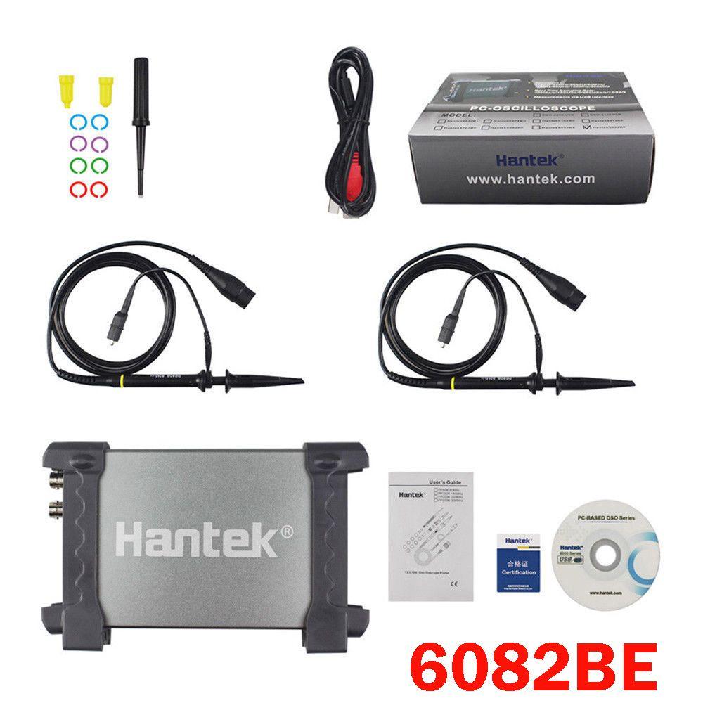 Hantek 6082BE Digital Multimeter Oscilloscope USB 2 Channels 80MHz Handheld Portable PC based Logic Analyzer Tester Storage