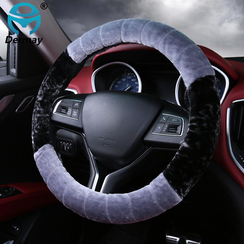 DERMAY 38cm Car Steering Wheel Covers Case Winter Warm Soft Short Plush Styling Universal Interior Accessories Car-styling