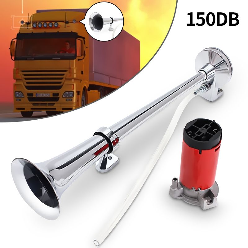 150dB 12V Single Trumpet Car Air Horn Chrome Super Loud with Compressor For Auto Truck Lorry Boat Train Horn