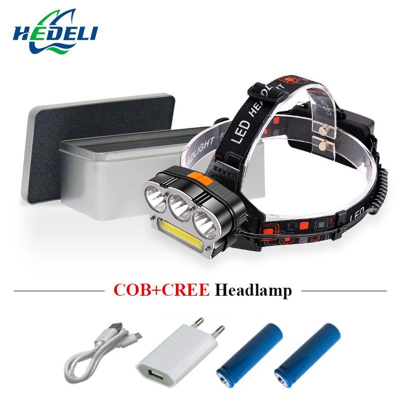 LEDheadlamp USB charge strong light Linterna led Cabeza lantern on the Head 8 mode 5000lm Cree T6 cob hunting and fishing lights