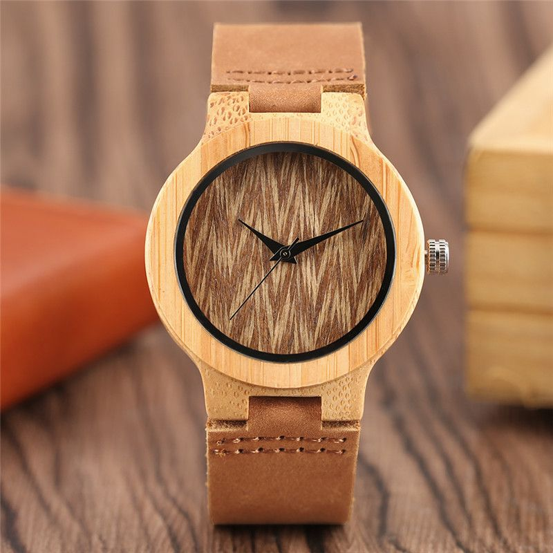 Luxury Unique Elegant Ladies Quartz Wristwatch Genuine Leather Band Stripes Design Dial Hand-made Cost-effective Wooden Watches