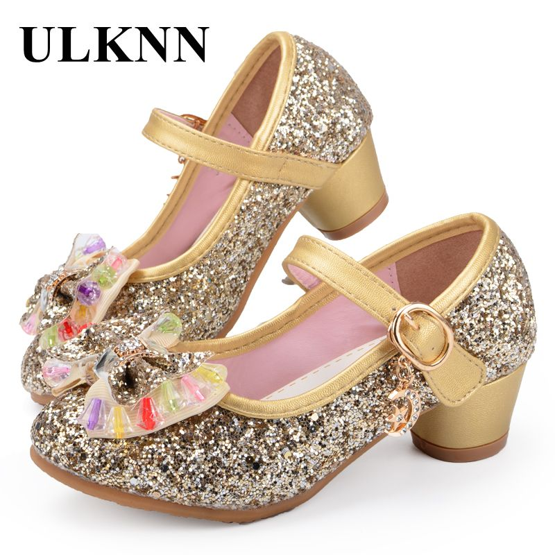 ULKNN Butterfly Children Princess Shoes Girls Bowtie Candy Color Hight Heels Slip on Party Dance Sandals For Baby Girls Kids