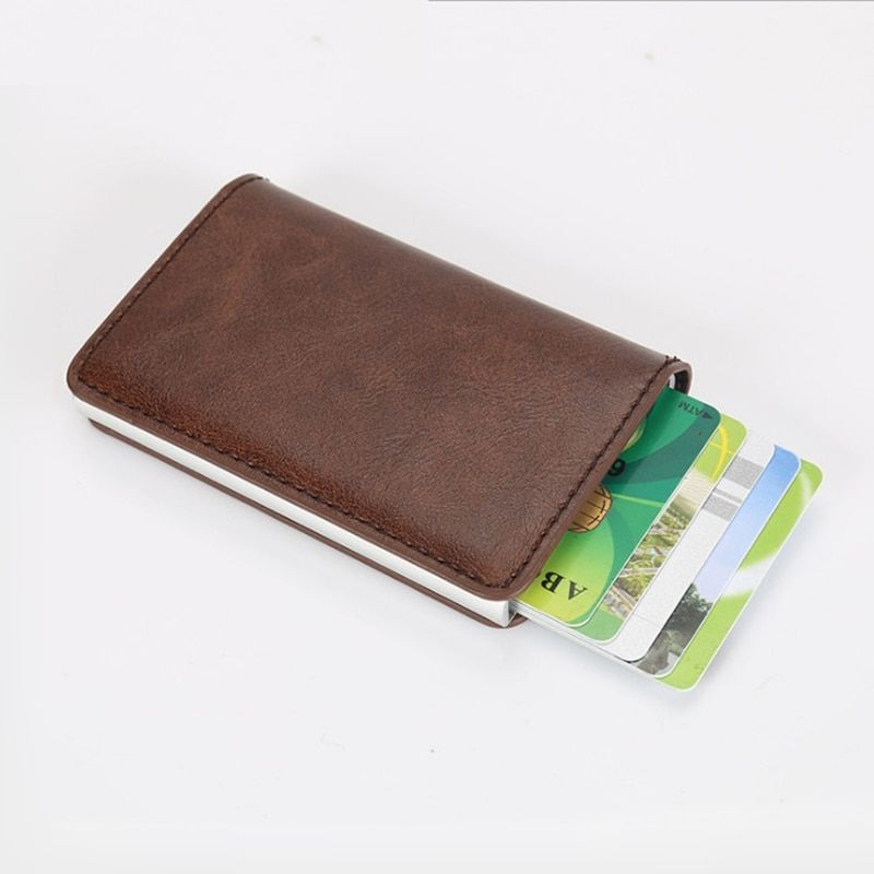 Arrival New Men Blocking Rfid Wallet Mini Leather Business Aluminium Credit Card Holder Purse Automatic Pop Up Card Case