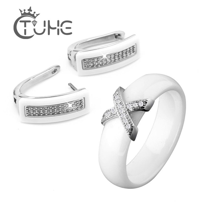 Big Discount Black White Stainless Steel Jewelry Set Ceramic For Women AAA Bling Cubic Zircon Ring And Earring Set Birthday Gift