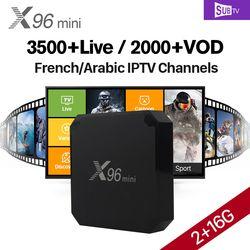 X96 mini Android 7.1 TV Box SUBTV Abonnement Arabe Français IPTV boîte 2G 16G H.265 4 K X96mini IP TV Box Turc Brésil Portugal