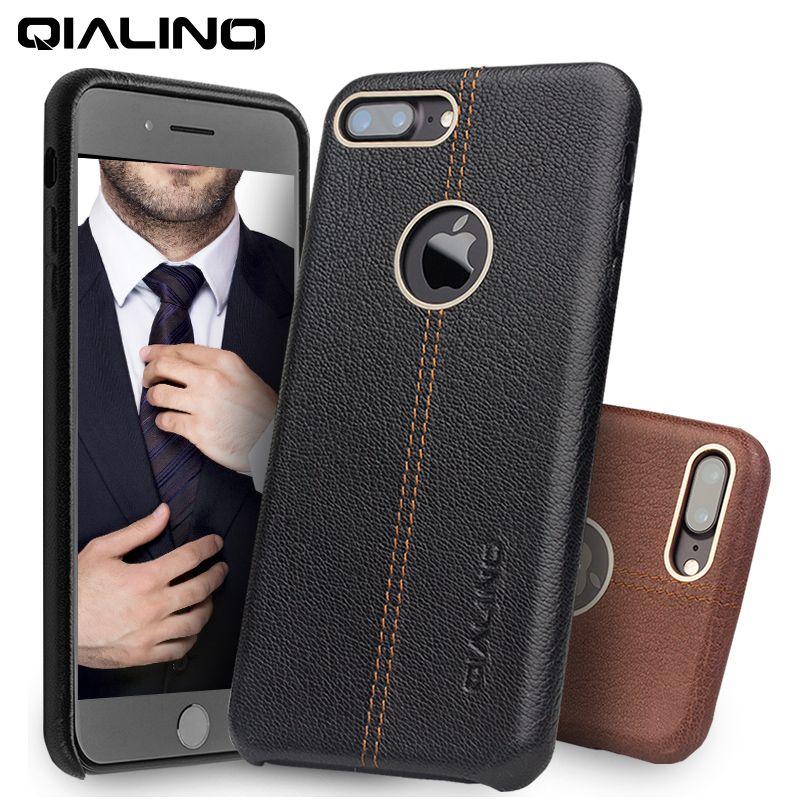 QIALINO Fall für iPhone 7 Echtes Leder Zurück Luxus Abdeckung Fall für Apple iPhone plus 7 Dünne Art Und Weise telefon fall 4,7/5,5 zoll
