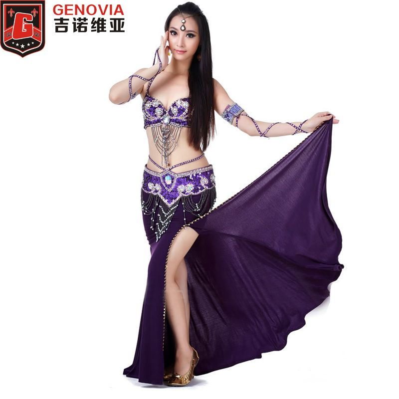 2018 Performance Belly Dance Costume Set 3 Piece Suit Belly Dance Bead Bra & Belt & Skirt Female Oriental Dance Clothes