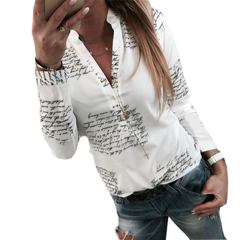 Lettres Imprimé Boutons V-cou Sexy Tops Automne Femmes De Mode Lady Blanc Blouse À Manches Longues Chemises Printemps Blusas Plus La Taille M0303