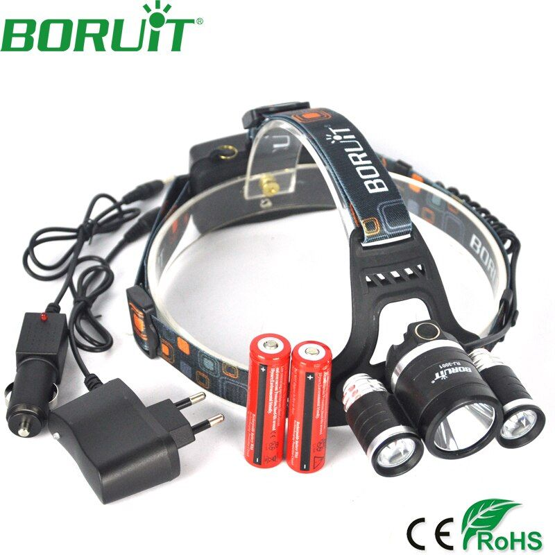 <font><b>Boruit</b></font> 9000 Lumen XML L2+2R5 Headlamp 4-Mode Rechargeable Headlight for Fishing Head Torch Light Lamp by 18650 Battery
