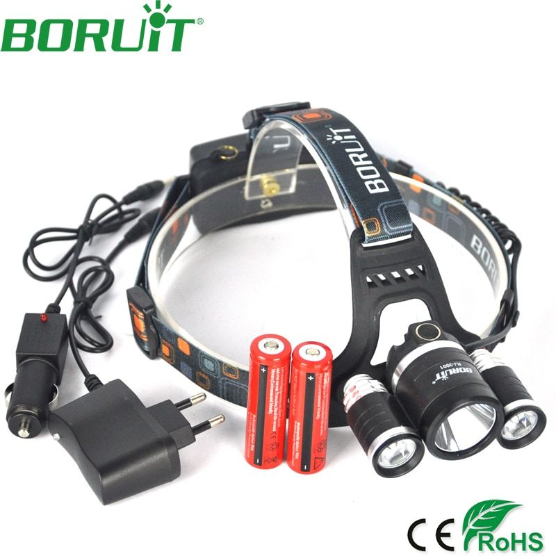 Boruit 9000 Lumen XML L2+2R5 Headlamp 4-Mode Rechargeable <font><b>Headlight</b></font> for Fishing Head Torch Light Lamp by 18650 Battery