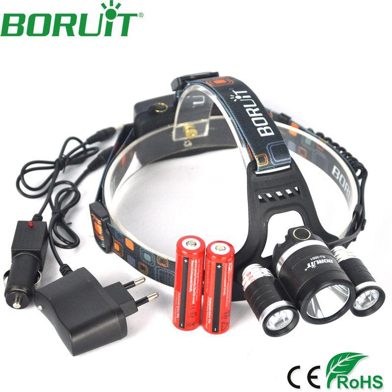 Boruit 9000 <font><b>Lumen</b></font> XML L2+2R5 Headlamp 4-Mode Rechargeable Headlight for Fishing Head Torch Light Lamp by 18650 Battery