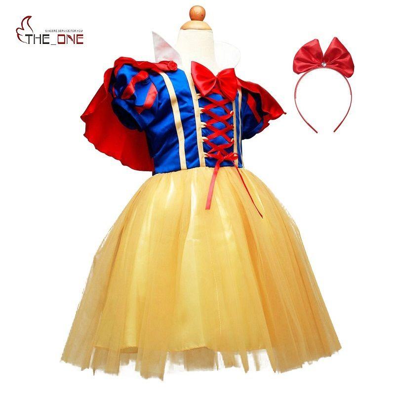 MUABABY Filles Snow White Dress Up Vêtements Fille À Manches Courtes Princesse Costume avec Cape Hallowee Enfants Cosplay Party Bow Robes