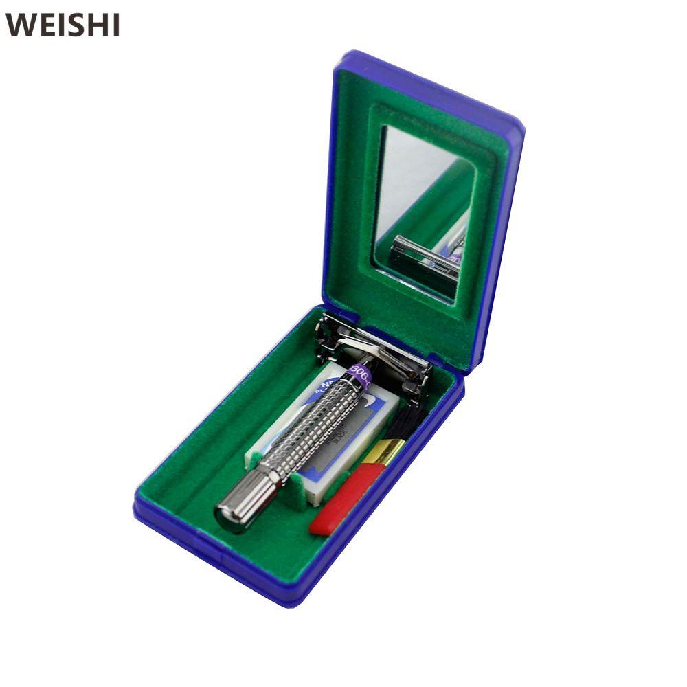 WEISHI 9306 Double bord rasoir manuel hommes rasoir de sécurité avec étui en plastique de voyage