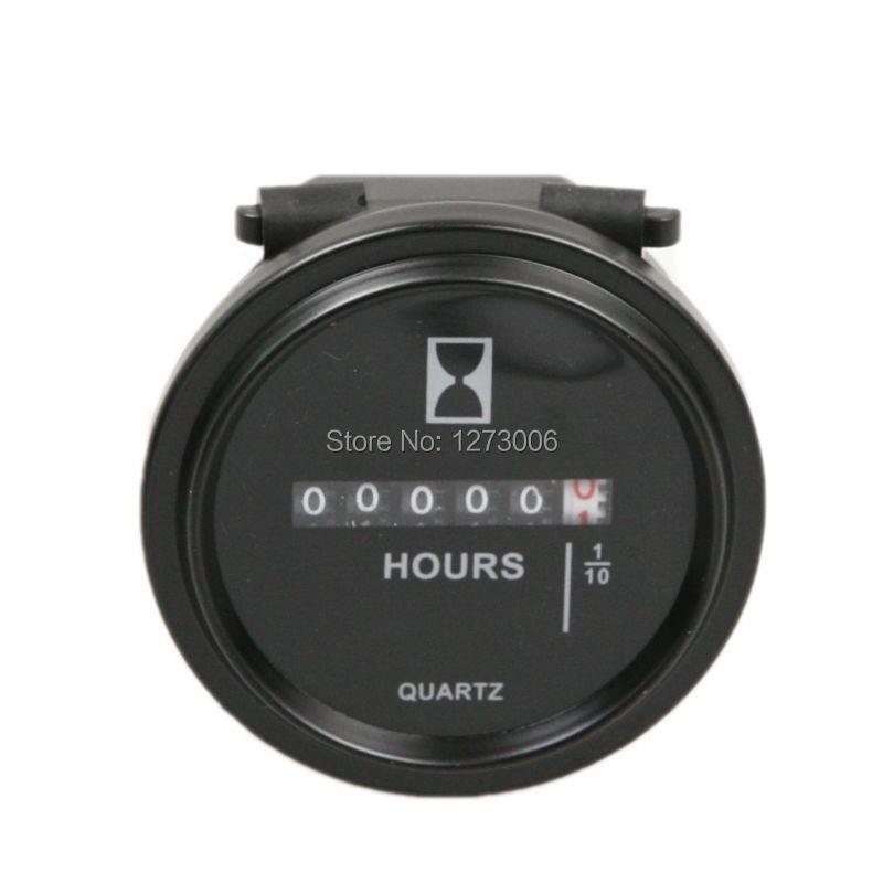 1PCS Black 2 Inch DC 8~80V Car Engine Mechanical Counter Timer Hourmeter Round Waterproof Gauge Hour Meter For Car Boat Engine