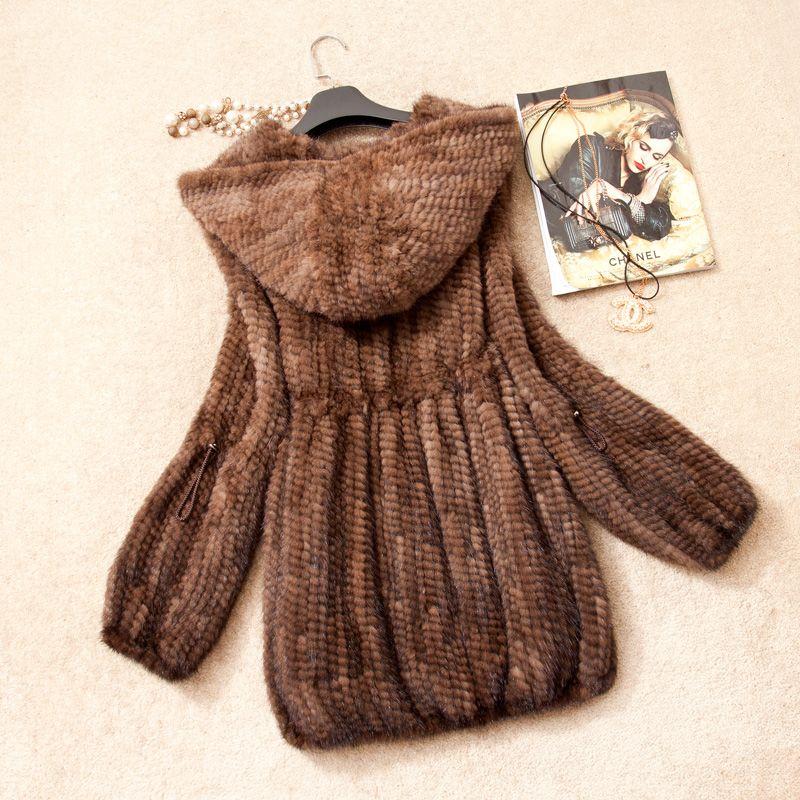 Women Genuine Knitted Mink Fur Coat Jacket Flare Sleeve Winter Women Fur Hoody Overcoat Outerwear Coats 3XL 4XL VK1368