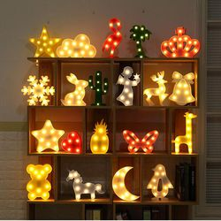 Luminaria novedad 3D marquesina unicornio Flamingo LED lámpara de mesa amor niños luz de la noche estrella Luna nube corazón decoración ciervos carta