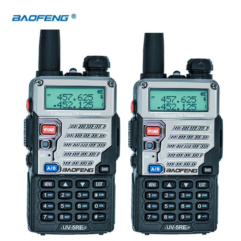 2 PCS UV-5RE Talkie Walkie Double Bande CB Radio UV5R version Mise À Jour 5 W 128CH UHF et VHF portable deux way radio
