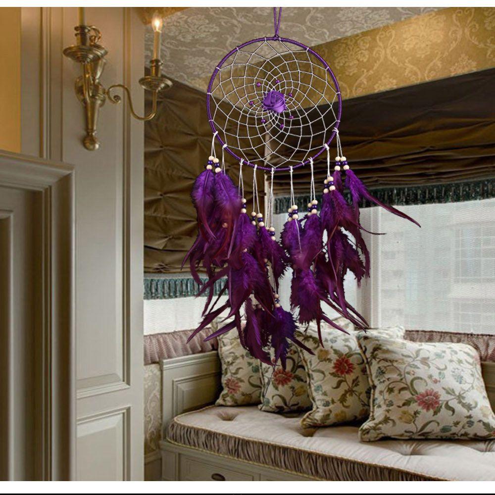 Belle décoration de mariage violet plume capteur de rêves grande salle de mariée tenture murale décoration dreamcatcher ornement cadeau
