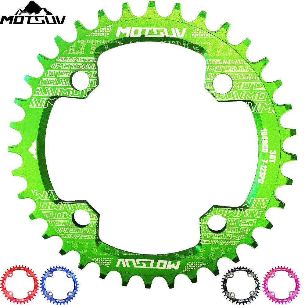 MTB Bicycle Round Shape Narrow Wide Chainwheel 32T/34T/36T/38T 104BCD Chainring Bike Circle Crankset Single Plate Bicycle Parts