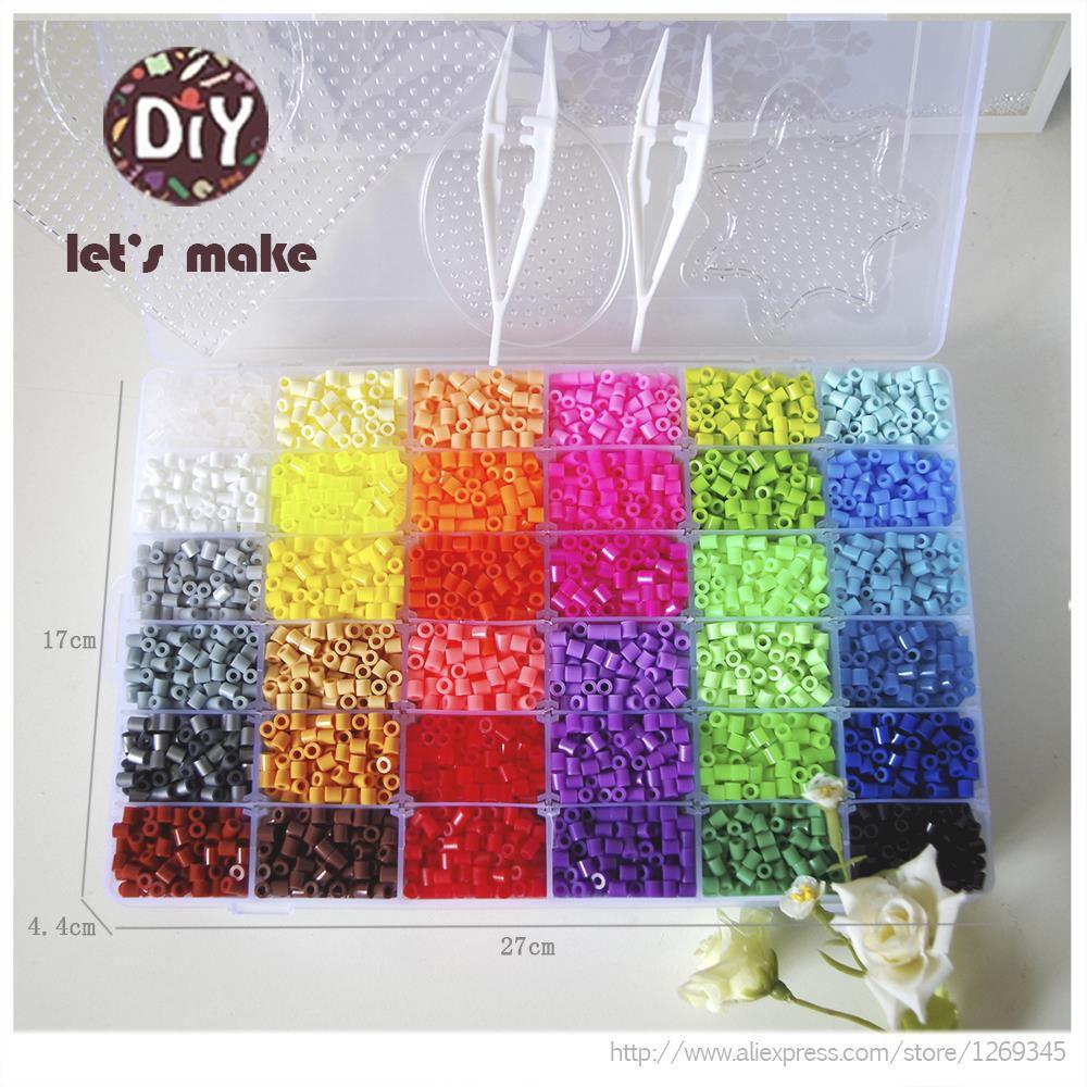 Let's Faire 36 Couleur Perler Perles 10000 pcs Perles À Repasser 5mm Hama Perles Fusible 2 Modèle + 5 fer Papier + 2 Pince À Épiler Puzzle Bricolage Perles