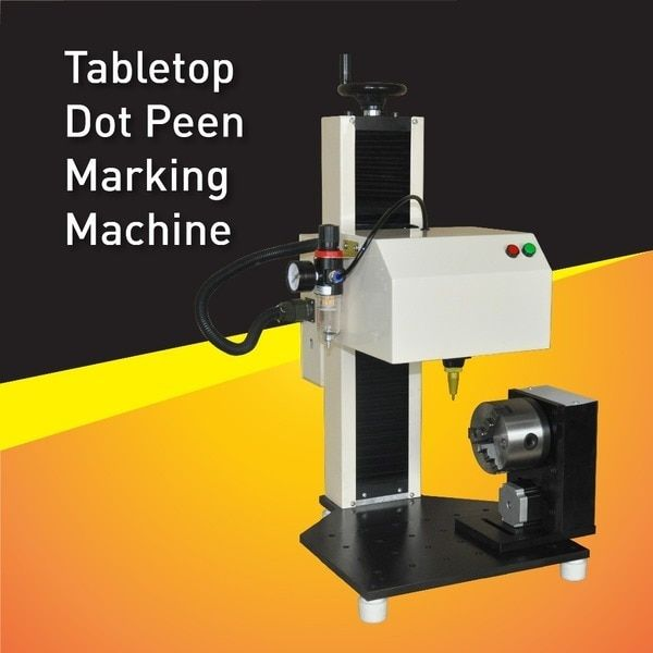 China Easy Use Pneumatic Serial Number Marking Machine,Dot Peen Marker With Rotary Fixture for part circle and flat surface mark